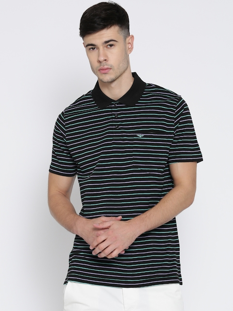 Park Avenue Men Black Striped Slim Polo Collar T-shirt