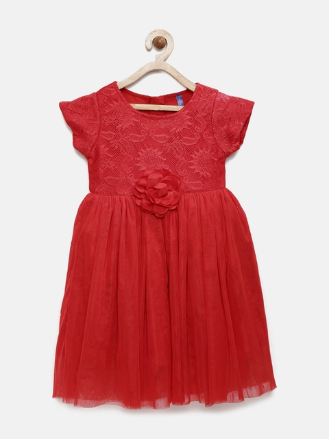 YK Girls Red Fit and Flare Dress
