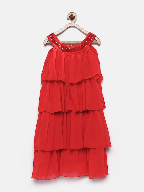 YK Girls Red Solid A-Line Dress