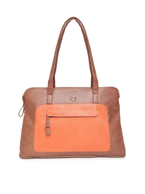 Baggit Brown & Orange Colourblocked Shoulder Bag