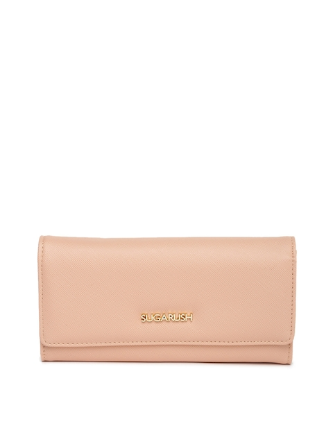 Sugarush Women Peach-Coloured Textured Wallet