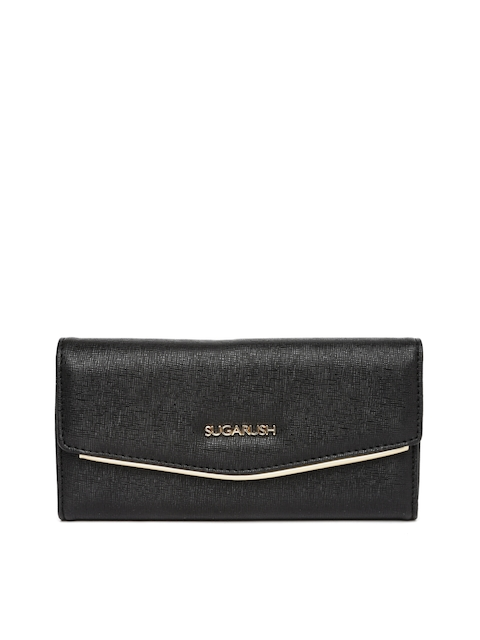 Sugarush Women Black Textured Wallet