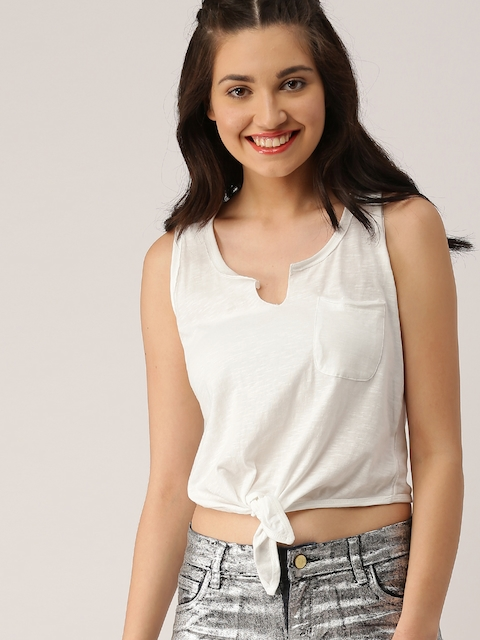 DressBerry Women White Solid Top