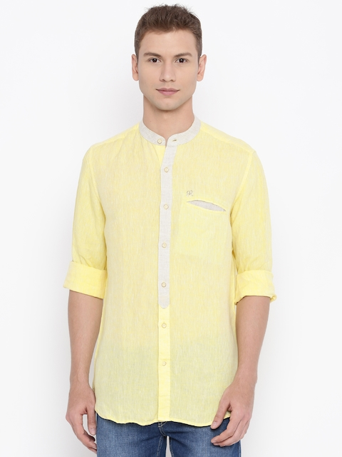 Raymond Men Yellow Solid Linen Formal Shirt