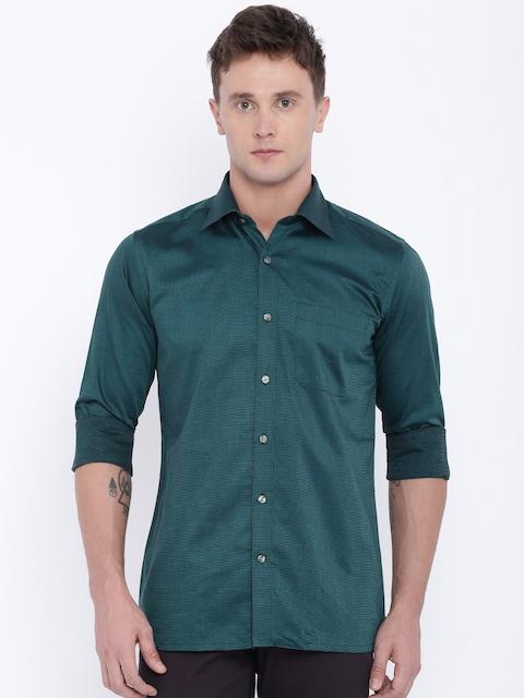 Raymond Men Green Self-Design Formal Shirt