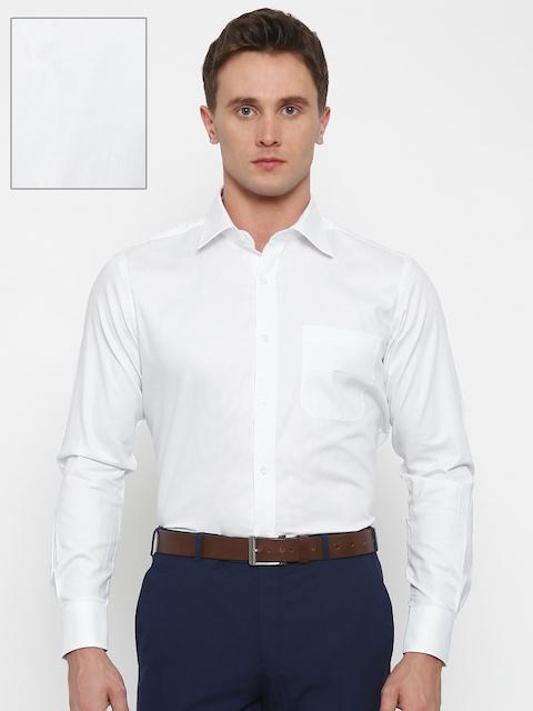 Raymond Men White Contemporary Fit Self-Design Formal Shirt