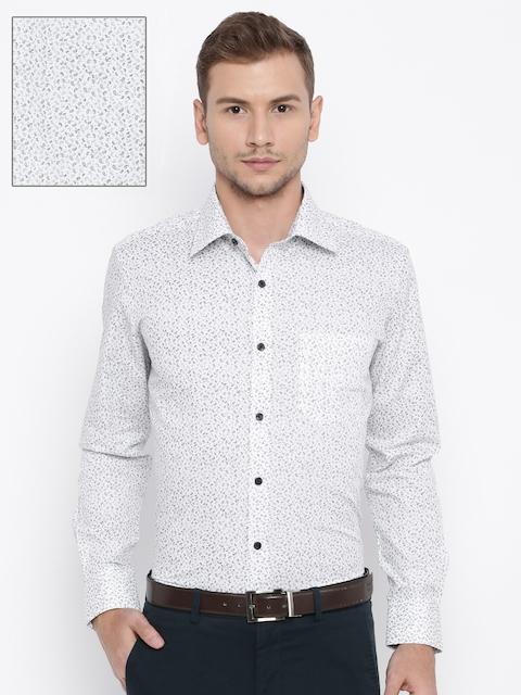 Raymond Men White & Black Printed Slim Fit Formal Shirt