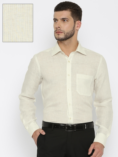 Raymond Men Off-White & Beige Linen Contemporary Fit Striped Formal Shirt