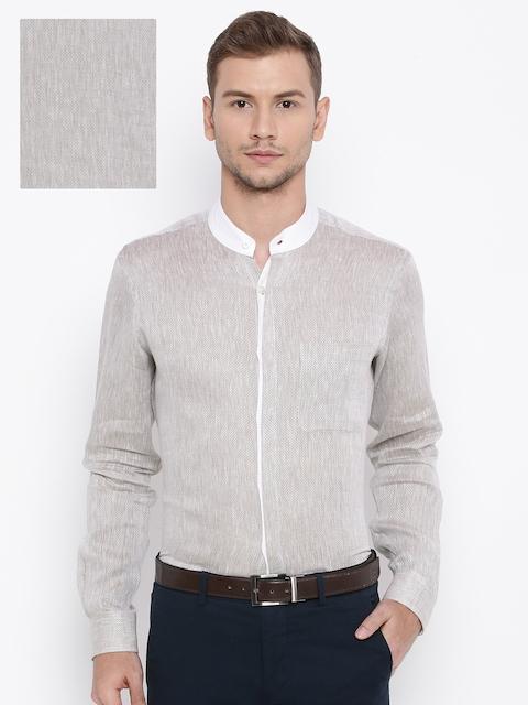 Raymond Men Beige Linen Contemporary Regular Fit Formal Shirt