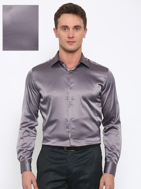 Parx Men Grey Slim Fit Solid Formal Shirt