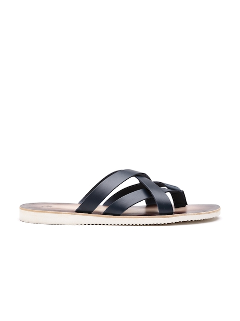 United Colors of Benetton Men Navy Genuine Leather Sandals
