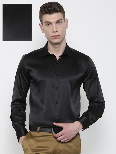 Parx Men Black Slim Fit Solid Formal Shirt