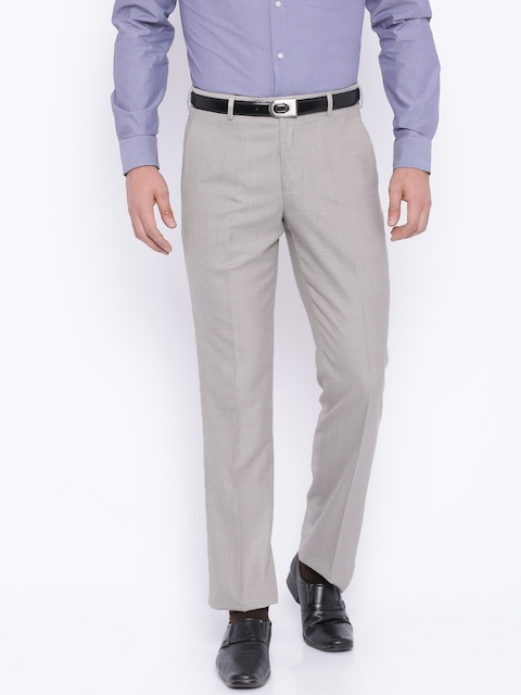 Park Avenue Men Beige Solid Tapered Fit Formal Trousers