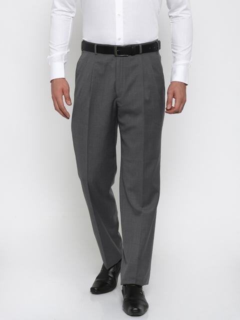 Raymond Men Grey Self-design Classic Fit Formal Trousers