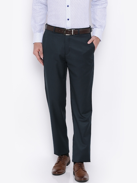 Raymond Men Blue Tapered Fit Formal Trousers