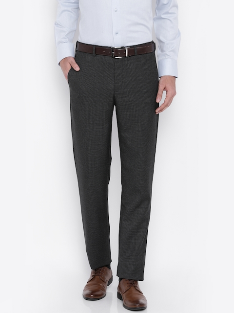 Raymond Men Grey Self-Designed Tapered Fit Formal Trousers