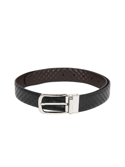 Peter England Statements Men Black Checked Belt