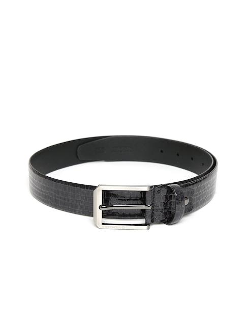 Peter England Statements Men Charcoal Grey Croc Textured Belt