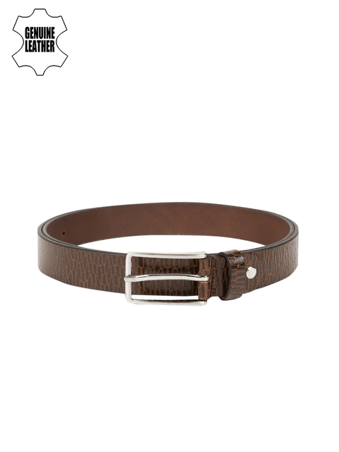 Peter England Statements Brown Genuine Leather Textured Belt