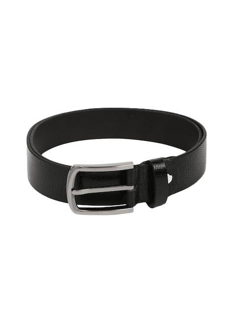 Peter England Men Black Snakeskin-Textured Genuine Leather Belt