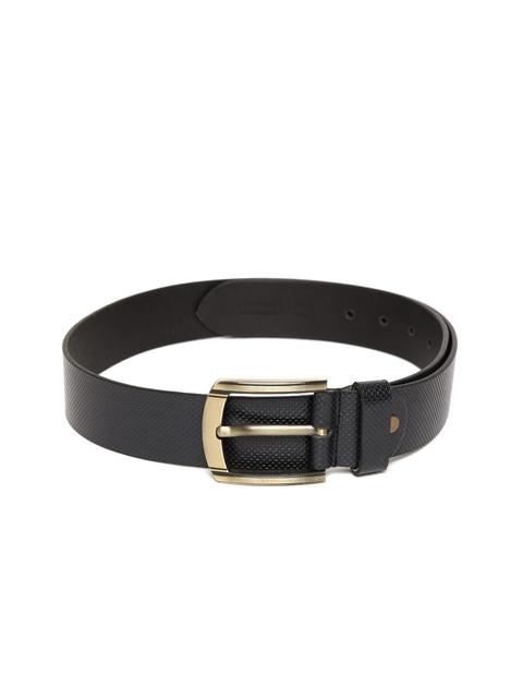 Peter England Statements Men Black Textured Genuine Leather Belt