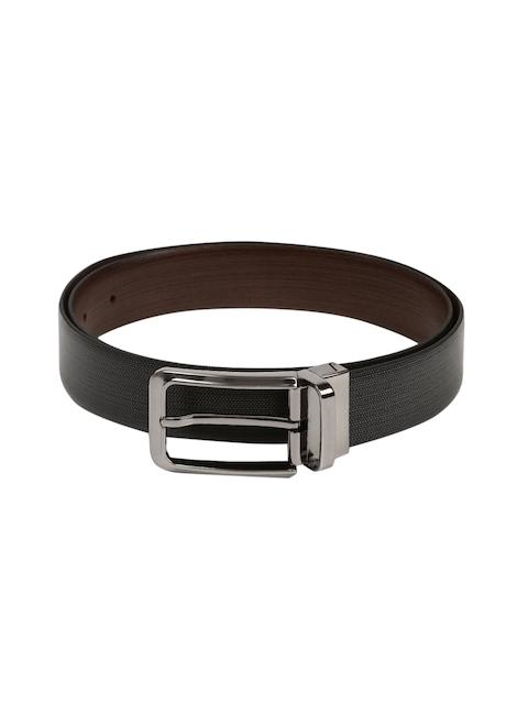 Peter England Men Black Textured Leather Belt