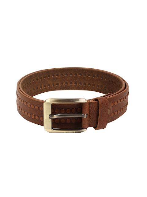 Peter England Men Brown Studded Genuine Leather Belt