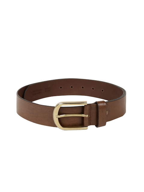 Peter England Statements Men Brown Textured Leather Belt