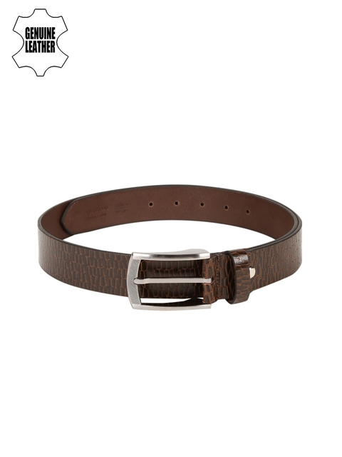 Peter England Statements Men Brown Textured Genuine Leather Belt