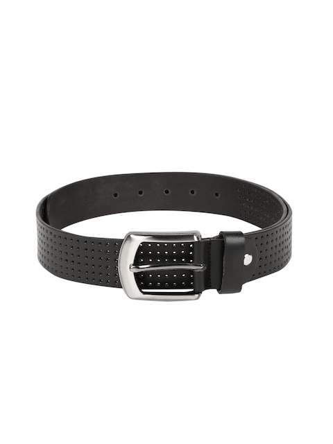 Peter England Statements Men Black Perforated Leather Belt