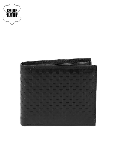 Peter England Statements Men Black Textured Genuine Leather Wallet