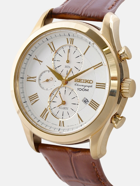 SEIKO Men Off-White Chronograph Dial Watch SNAF72P1