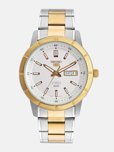 SEIKO Men Silver-Toned Skeleton Dial Watch SNKN58K1