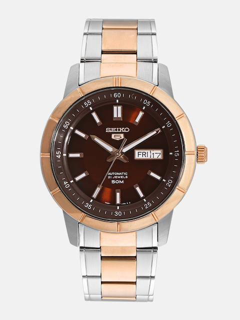 SEIKO Men Brown Skeleton Dial Watch SNKN60K1
