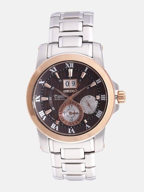 SEIKO Premier Men Brown Striped Kinetic Motion Mulltifunction Dial Watch SNP128P1