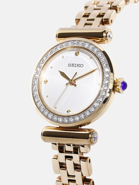 SEIKO Women Off-White Swarovski Stone-Studded Dial Watch SRZ468P1