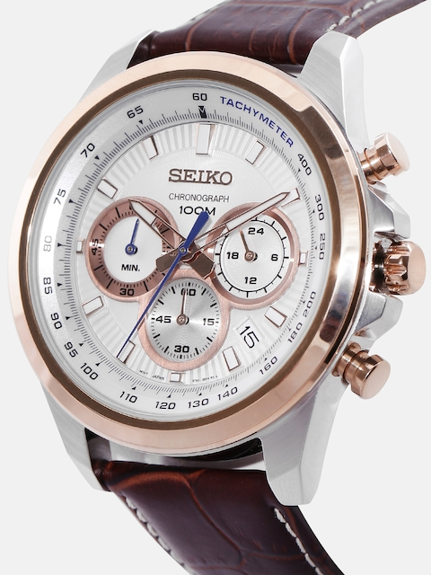 SEIKO Men Off-White Chronograph Dial Watch SSB250P1