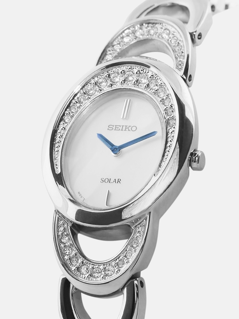 SEIKO SOLAR Women Mother-of-Pearl Eco-Drive Dial Watch SUP295P1