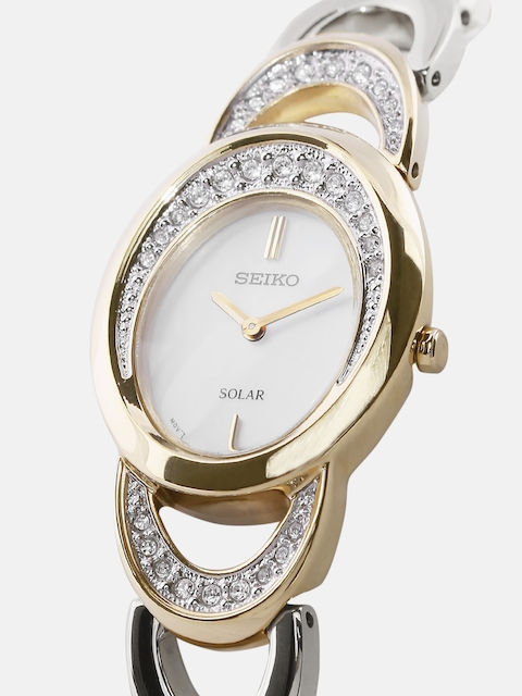 SEIKO SOLAR Women Mother-of-Pearl Swarovski Stone-Studded Dial Watch SUP296P1