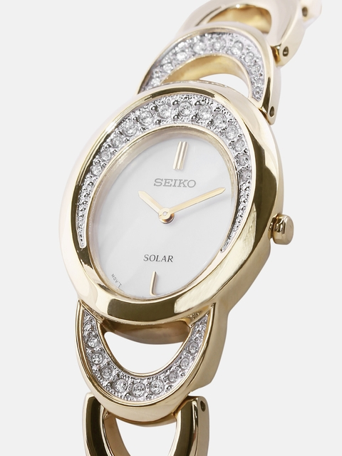SEIKO SOLAR Women Mother-of-Pearl Eco-Drive Dial Watch SUP298P1