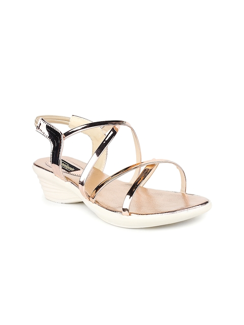 Shoetopia Women Copper-Toned Solid Wedges