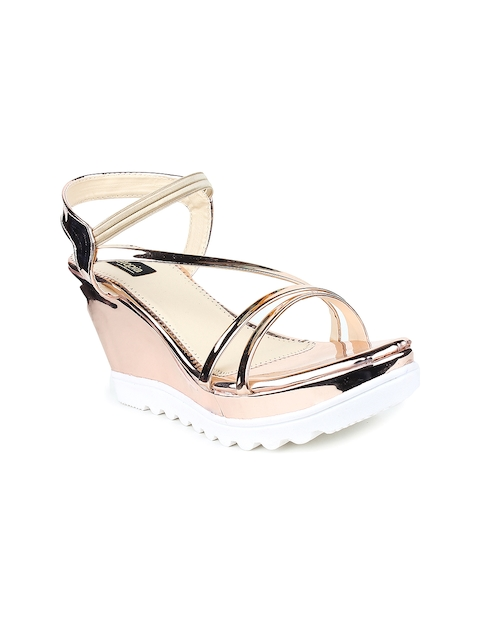 Shoetopia Women Copper-Toned Wedges