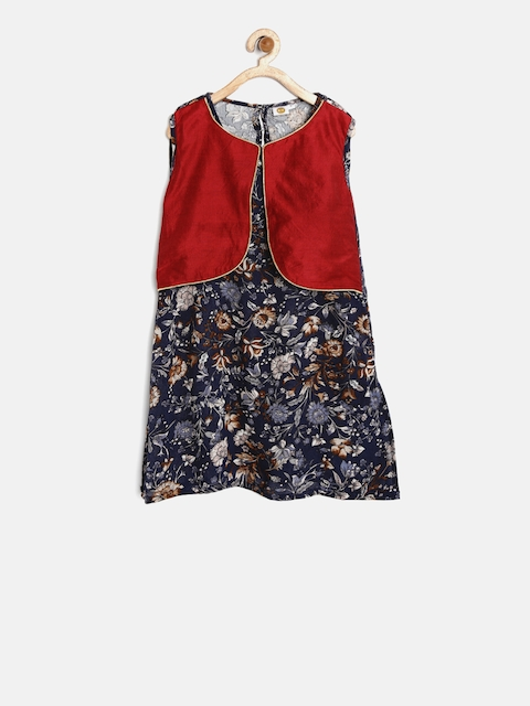 K&U Girls Navy & Maroon Printed Layered Kurti  available at myntra for Rs.399