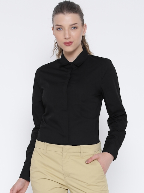 United Colors of Benetton Women Black Solid Formal Shirt