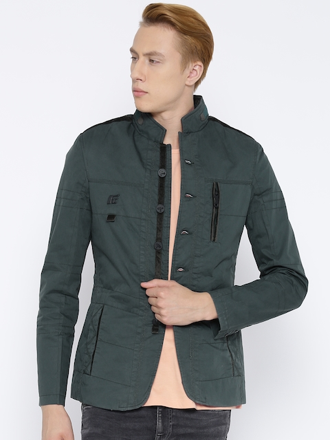Fort Collins Men Green Solid Tailored Jacket