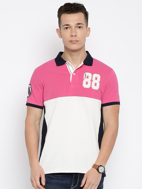 Being Human Men Pink & White Solid Polo Collar T-shirt