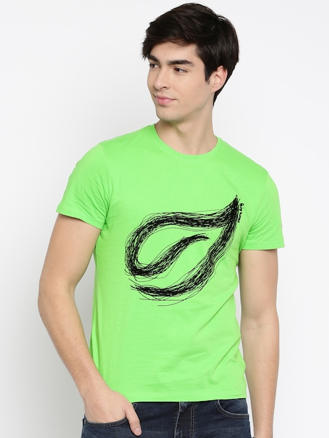 Being Human Clothing Men Green Self-Design Round Neck T-shirt  available at myntra for Rs.449