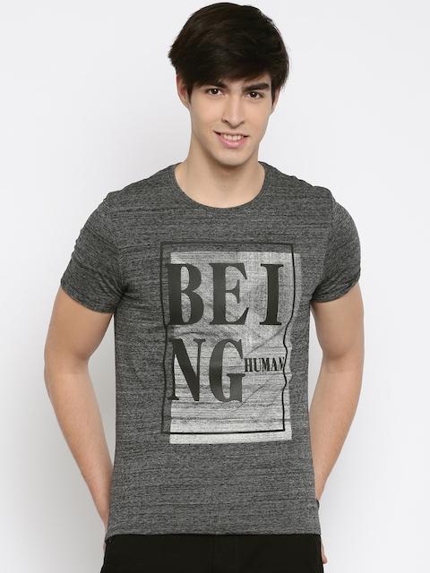 Being Human Men Grey Self-Design Round Neck T-shirt