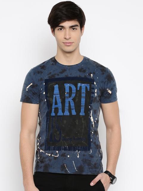 Being Human Clothing Men Blue Printed Round Neck T-shirt
