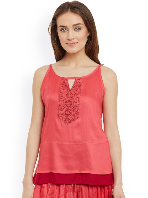9rasa Coral Red A-Line Top with Block Print Detail